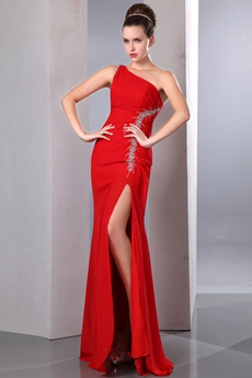 Super One Shoulder Red Cocktail Dress