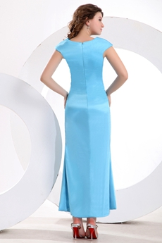 Cap Sleeves Ankle Length Blue Mother Of The Bride Dress