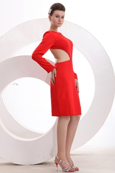 Backless Boat Neckline Long Sleeves Red Wedding Guest Dress