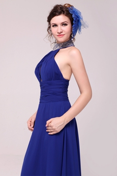 Front Keyhole A-line Royal Blue Evening Dress High Collar