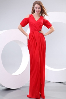 Fantastic V-Neckling Short Sleeves Red Cocktail Dress
