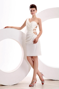 Chic One Shoulder Mini Length White Nightclub Dress