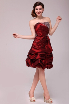 Modern Dipped Neckline Knee Length Burgundy Taffeta Sweet Sixteen Dress