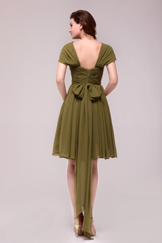 Cap Sleeves Knee Length Green Wedding Guest Dress