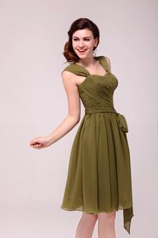 Cap Sleeves Knee Length Green Wedding Guest Dress