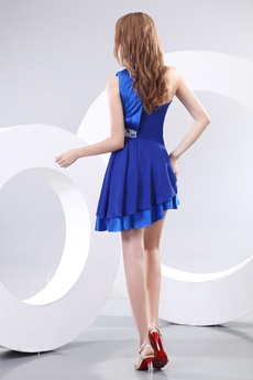 Halter Asymmetrical Royal Blue Cocktail Dress