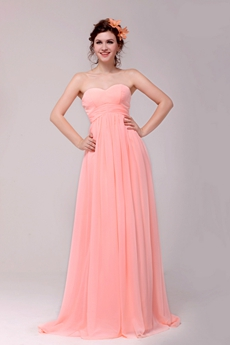 Cute Sweetheart Empire Chiffon Coral Plus Size Graduation Dress