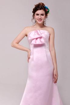Sweet A-line Full Length Pink Satin Formal Evening Dress