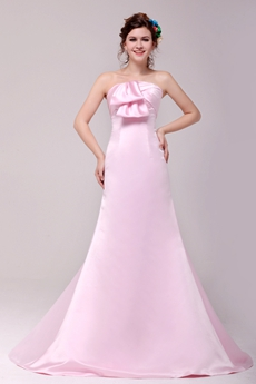 Sweet A-line Full Length Pink Satin Formal Evening Dress