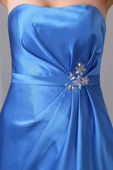 Strapless A-line Blue Satin Prom Party Dress