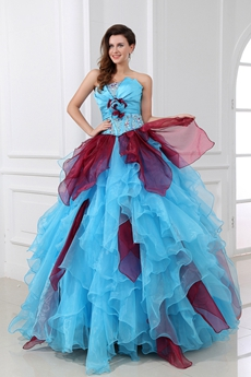 Fantatics Colorful Blue & Burgundy Sweet 15 Dress