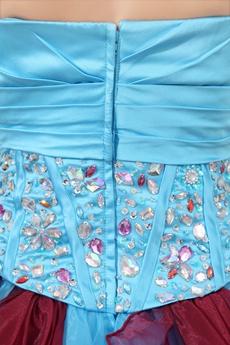 Fantatics Colorful Blue & Burgundy Sweet 15 Dress