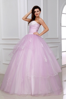 Dramatic Pale Pink Sweet 15 Ball Gown