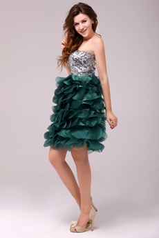 Fancy Dark Green And & Silver Puffy Mini Length Sweet 16 Dress