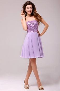 Lovely Short Length Lilac Sparkled Cocktail Dress