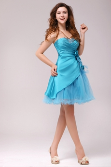 Cute Short Length Blue Homecoming Dress With Handmade Flowers