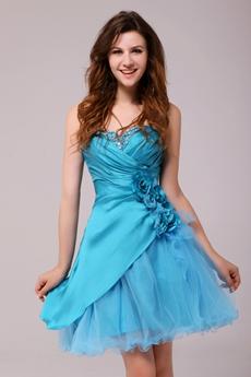 Cute Short Length Blue Homecoming Dress With Handmade Flowers