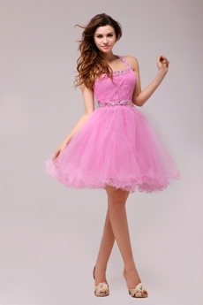 Exclusive Top Halter Pink Tulle Sweet Sixteen Dress