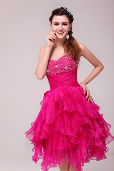 Fancy Short Puffy Fuchsia Sweet Sixteen Dress For Damas