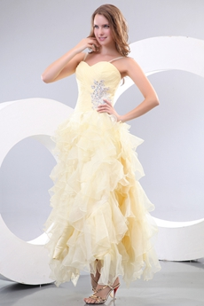 Exclusive Ankle Length Pale Yellow Sweet Sixteen Dress