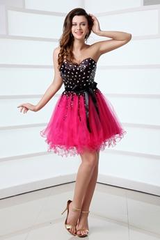 Sassy Sweetheart Black & Hot Pink Damas Dress With Rhinestones