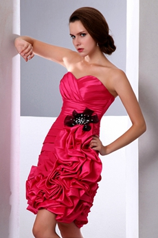 Sweetheart Mini Length Hot Pink Damas Dress