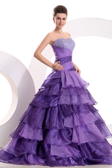 Fashionable Dropped Waist Lavender Quinceanera Dress