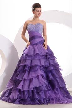 Fashionable Dropped Waist Lavender Quinceanera Dress