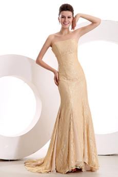 Charming A-line Full Length Champagne Lace Formal Evening Dress