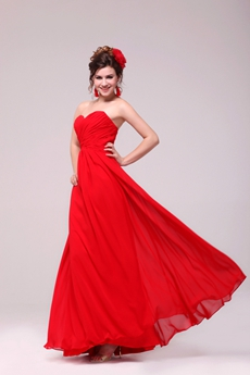Charming Sweetheart Red Chiffon Formal Evening Dress With Pleated Bodice