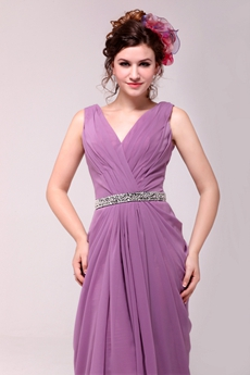 Perfect V-Neckline A-line Lilac Chiffon Engagement Dress