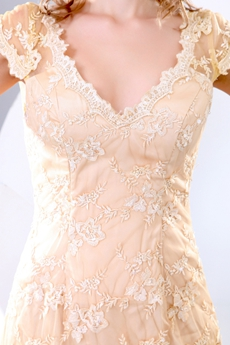 Cap Sleeves V-neckline Gold Lace Prom Dress