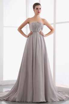 Graceful Strapless A-line Gray Chiffon Pageant Prom Dress