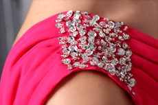 One Shoulder Full Length Hot Pink Prom Dress