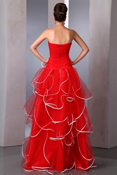 Special Puffy Tulle Red Princess Quinceanera Dress With White Straps