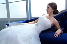 Exclusive White Tulle Wedding Dress Dropped Waist