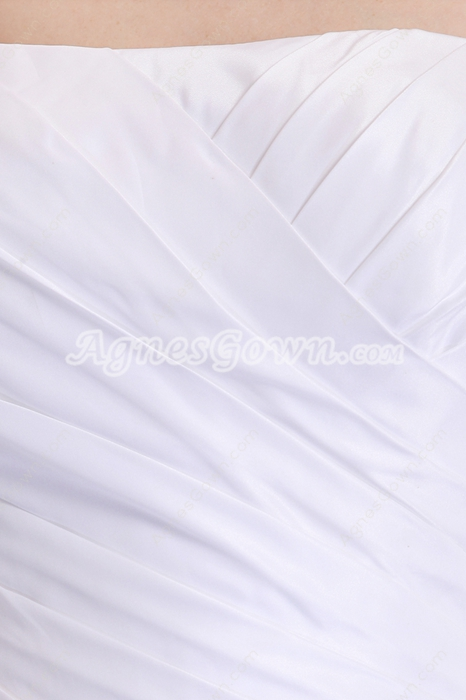 Dropped Waist White Simple Wedding Dress