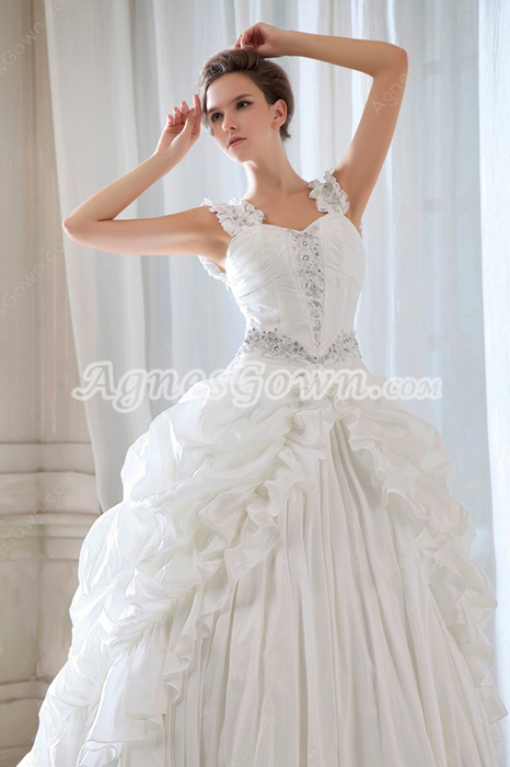 Vintage Taffeta Pick Up Wedding Dress Corset Back