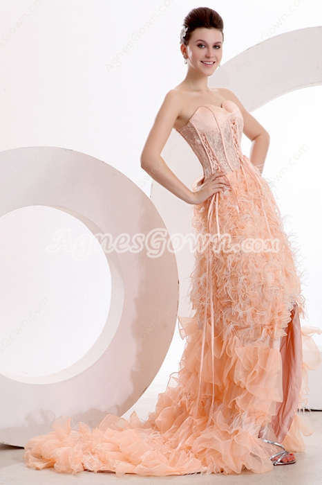 Stunning Front Short Long Back Coral Feather Sweet Sixteen Dress