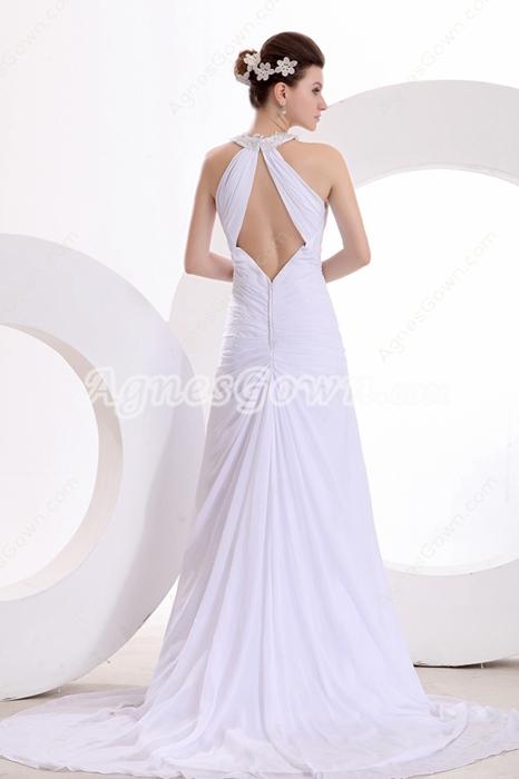 Sexy A-line Chiffon Summer Wedding Dress Front Keyhole Bust