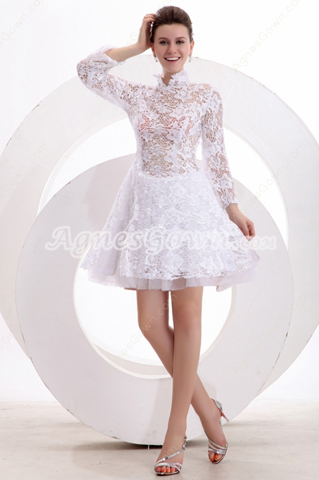 Long Sleeves High Collar White Lace Homecoming Dress
