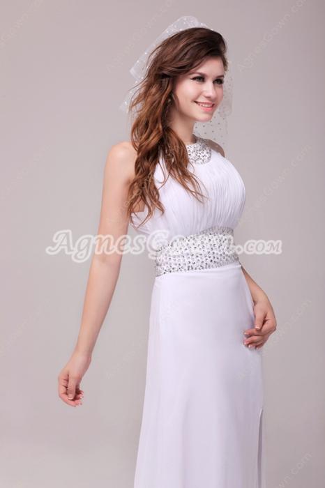 Crossed Straps A-line White Chiffon Summer Beach Wedding Dress Front Slit