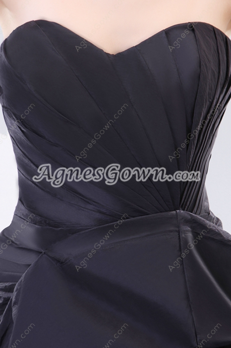 Special High Low Black Taffeta Prom Dress