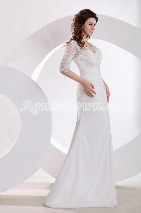 Half Sleeves A-line Chiffon & Lace Beach Wedding Gown