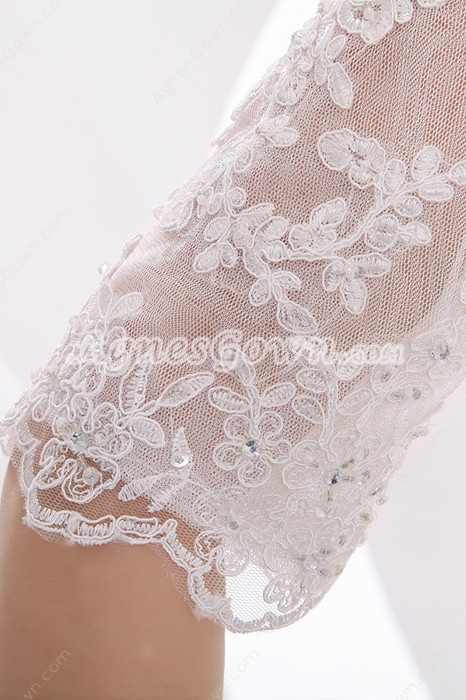 Half Sleeves A-line Chiffon & Lace Beach Wedding Gown