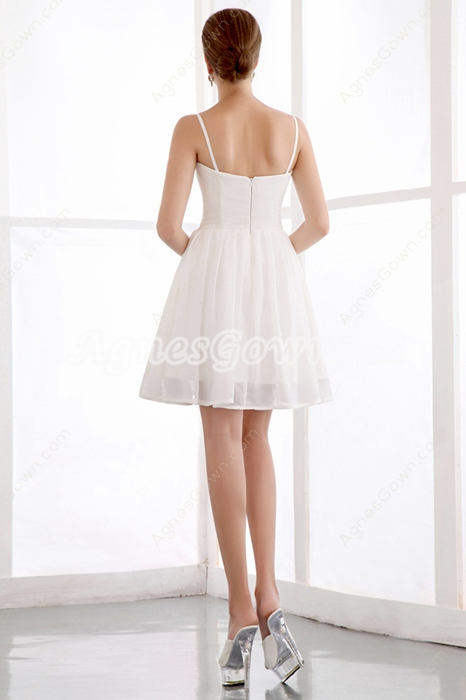 Spaghetti Straps Mini Length White Homecoming Dress