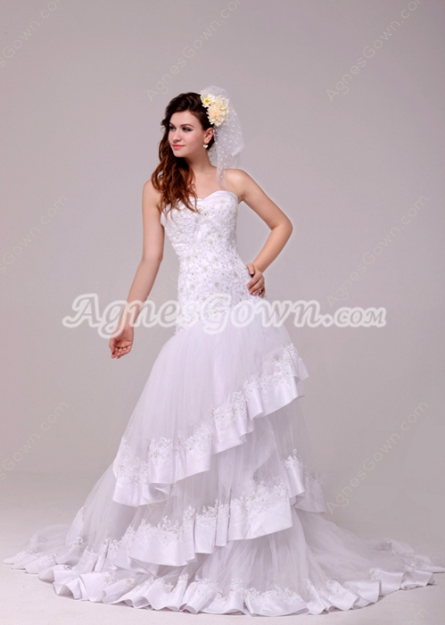 Luxury Strapless A-line Lace Wedding Dress 3 Tiered