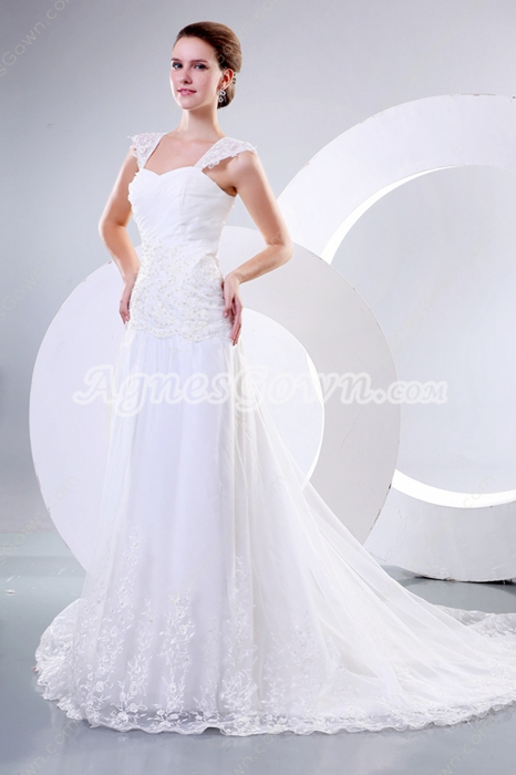 Charming Straps A-line Tulle Wedding Dress With Lace