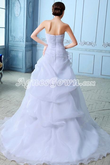 Breathtaking White Organza Wedding Dress Asymmetrical Waist