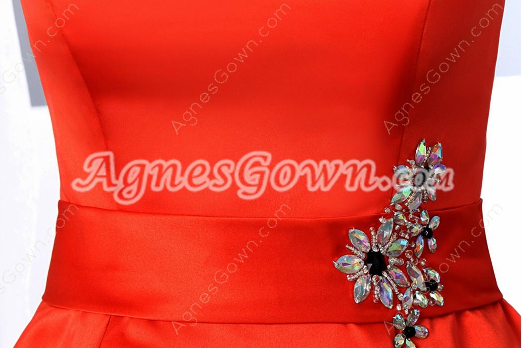 Bateau Neckline Mini Length Orange Satin Wedding Guest Dress